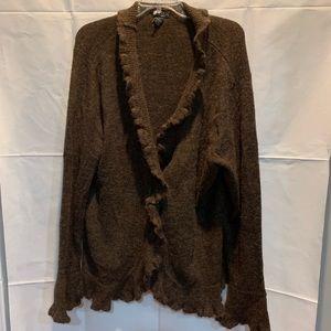 Brown ruffle cardigan